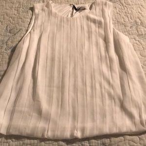 Calvin Klein white sleeveless pleated front blouse
